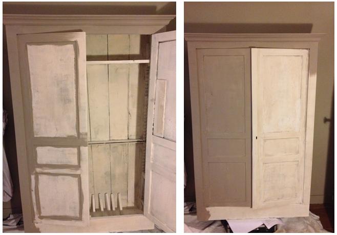 appliquer la peinture sur l'armoire ancienne