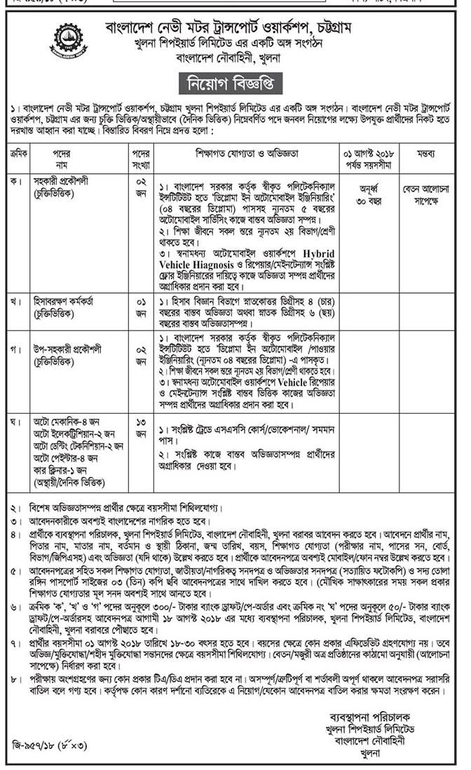 Bangladesh Navy Motor Transport Workshop Job Circular 2018