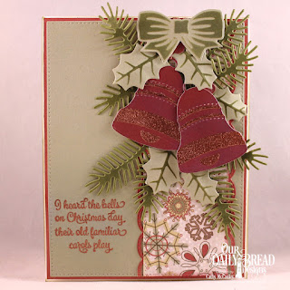 Our Daily Bread Designs Stamp Set: Christmas Card Verses, Paper Collection: Retro Christmas, Custom Dies: Pierced Rectangles, Christmas Bells, Pine Branches, Beautiful Borders