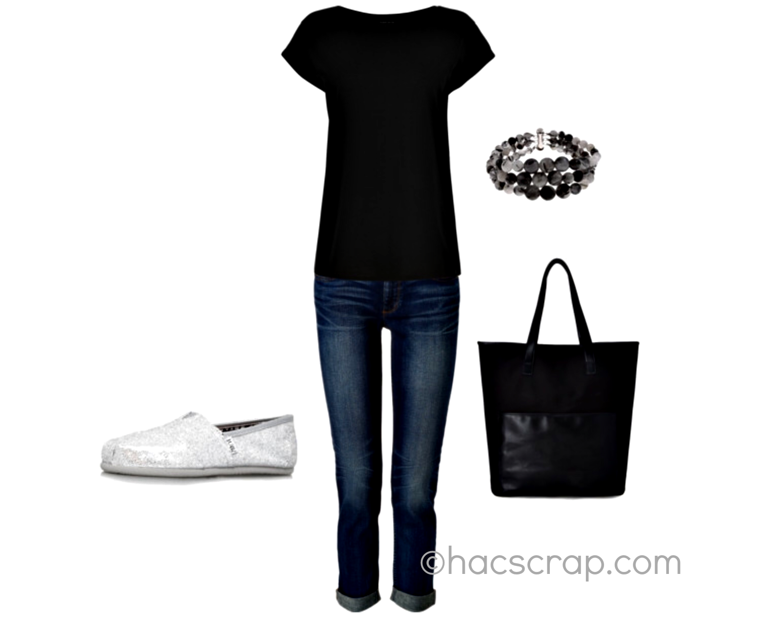 Casual jeans outfit wiht Silver Toms