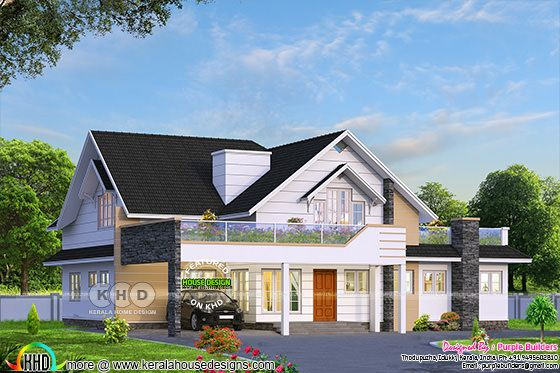 Single storied mixed roof style home 2450 sq-ft