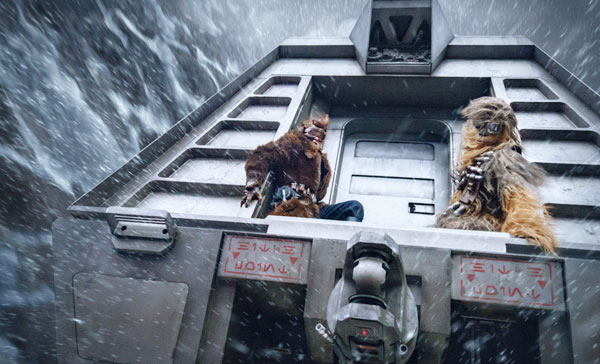 A scene during the train heist set-piece in SOLO: A STAR WARS STORY (2018)