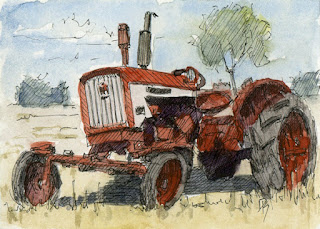 pen watercolor sketch abandoned tractor farmall art