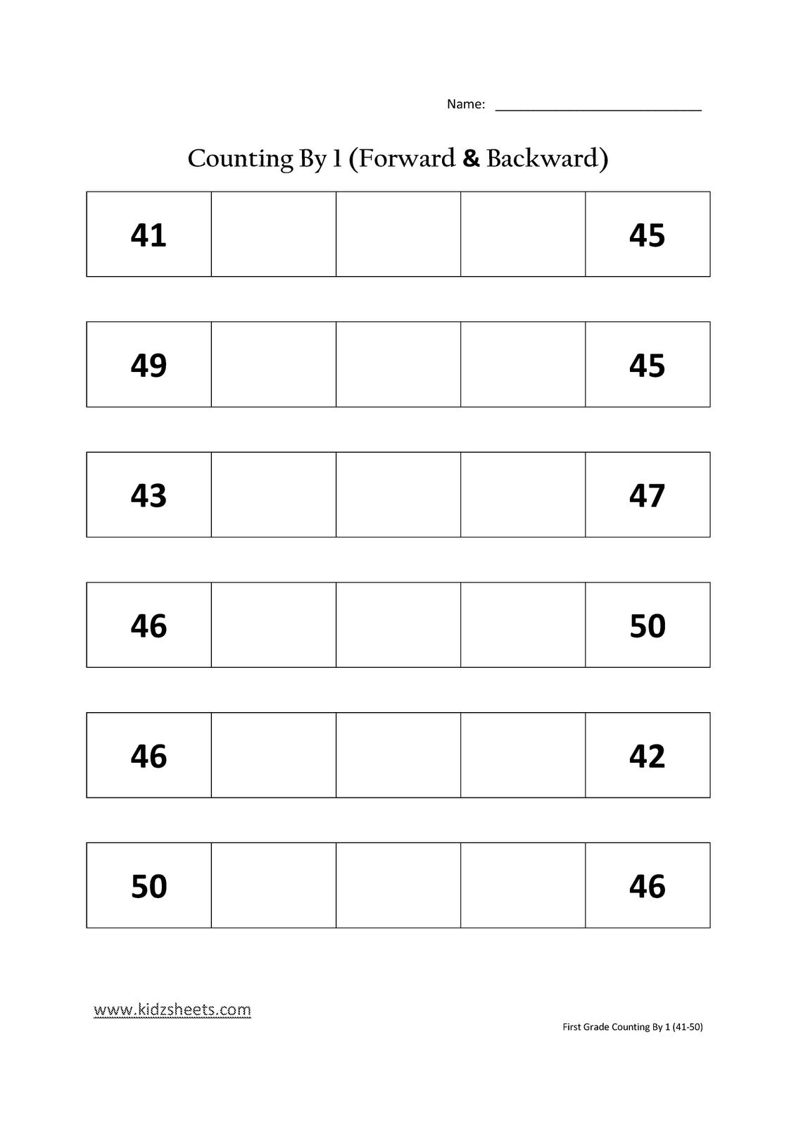 Kidz Worksheets First Grade Counting By 1 41 50