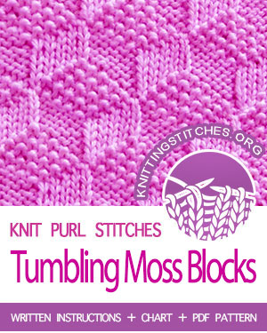 KNIT and PURL Stitches. #howtoknit the Tumbling Moss Blocks Stitch. FREE written instructions, Chart, PDF knitting pattern.  #knittingstitches #knitting #knitpurl