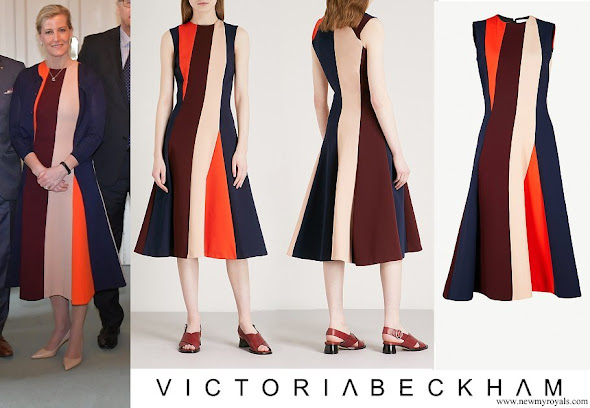 Countess of Wessex wore VICTORIA BECKHAM Panelled stretch knit midi dress