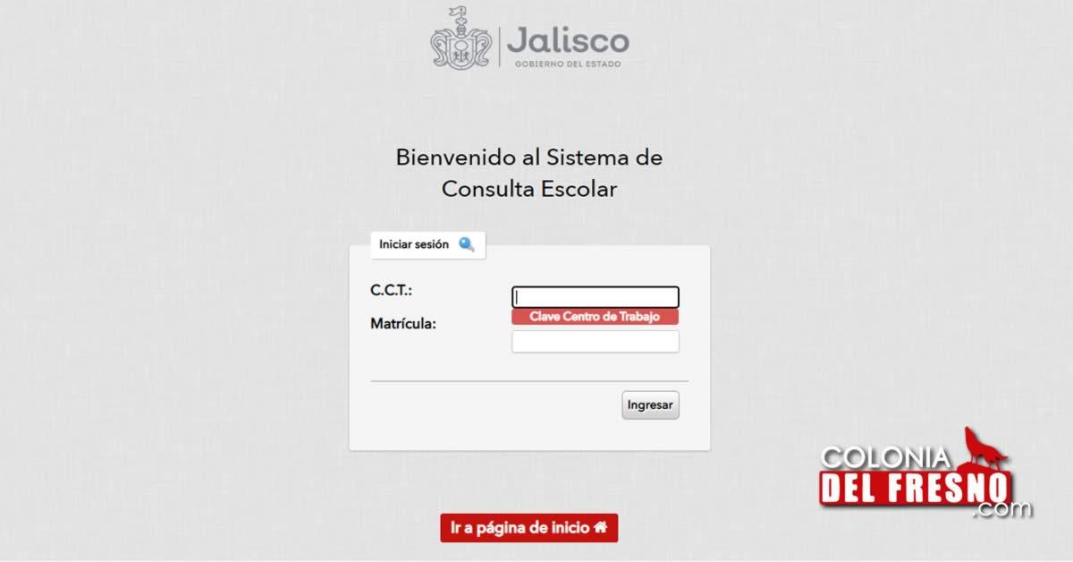 Página para consultar calificaciones en Jalisco