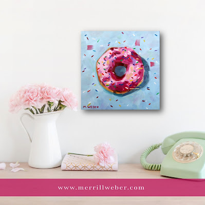 Pink Donut with Sprinkles oil painting by Merrill Weber