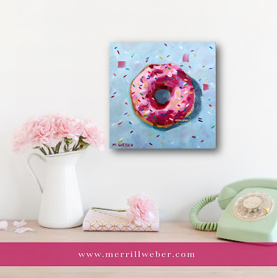 pink-donut-food-oil-painting-merrill-weber
