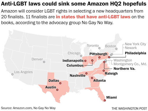 Anti-LGBT laws could sink some Amazon HQ2 hopefuls. Amazon will consider LGBT rights in selecting a new headquarters from 20 finalists. 11 finalists are in states that have anti-LGBT laws on the books, according to the advocacy group No Gay No Way.