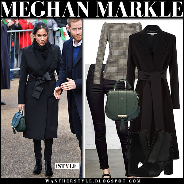 Meghan Markle in black coat stella mccartney, black velvet ankle boots with green bag demellier venice royal family fashion january 18