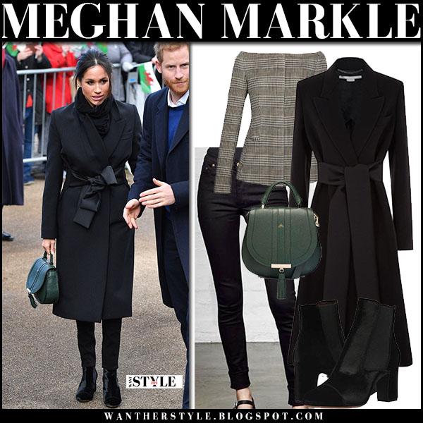 Meghan Markle in black coat stella mccartney, black velvet ankle boots with green bag demellier venice royal family fashion january 18