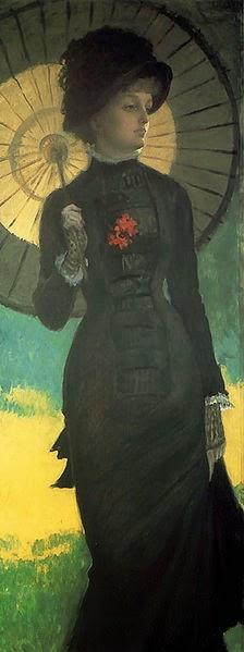 Sra. Newton com uma Sombrinha - As principais pinturas de James Tissot ~ Francês