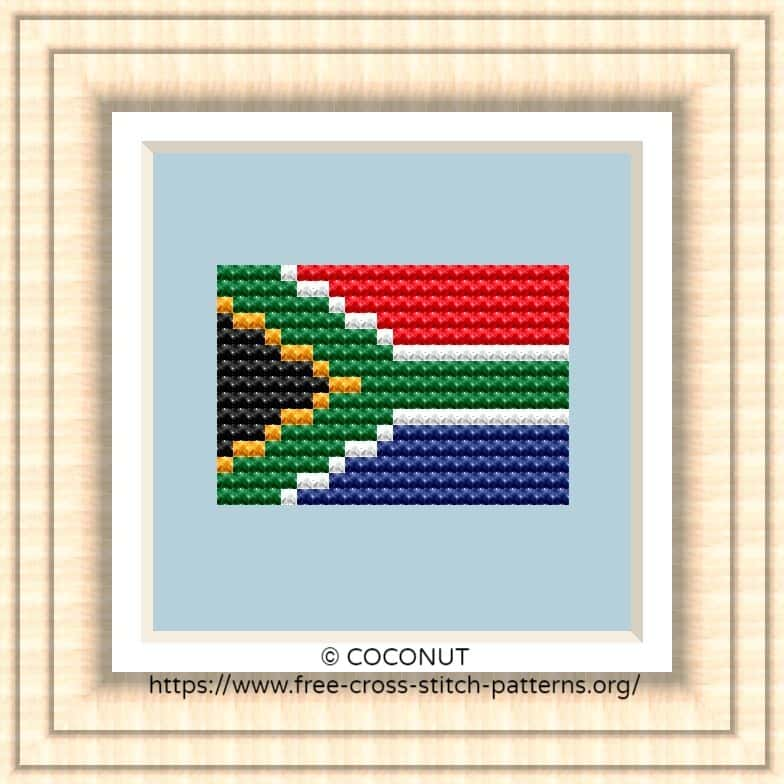 NATIONAL FLAG OF SOUTH AFRICA CROSS STITCH CHART