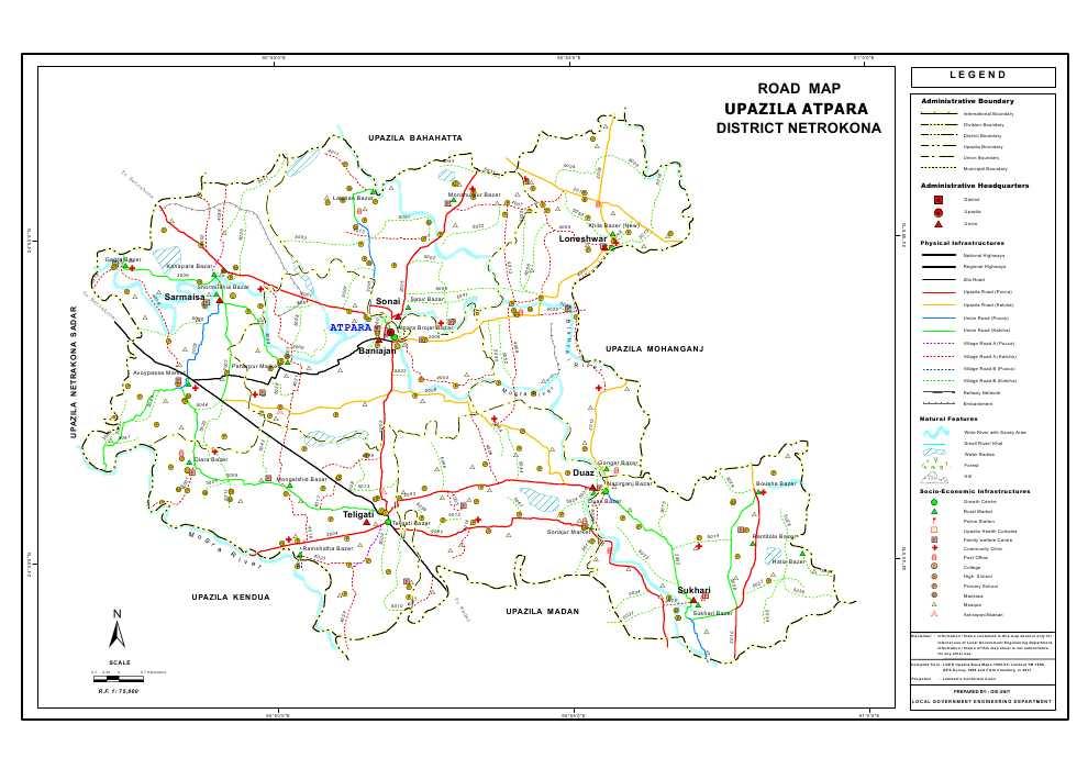 Atpara Upazila Road Map Netrokona District Bangladesh