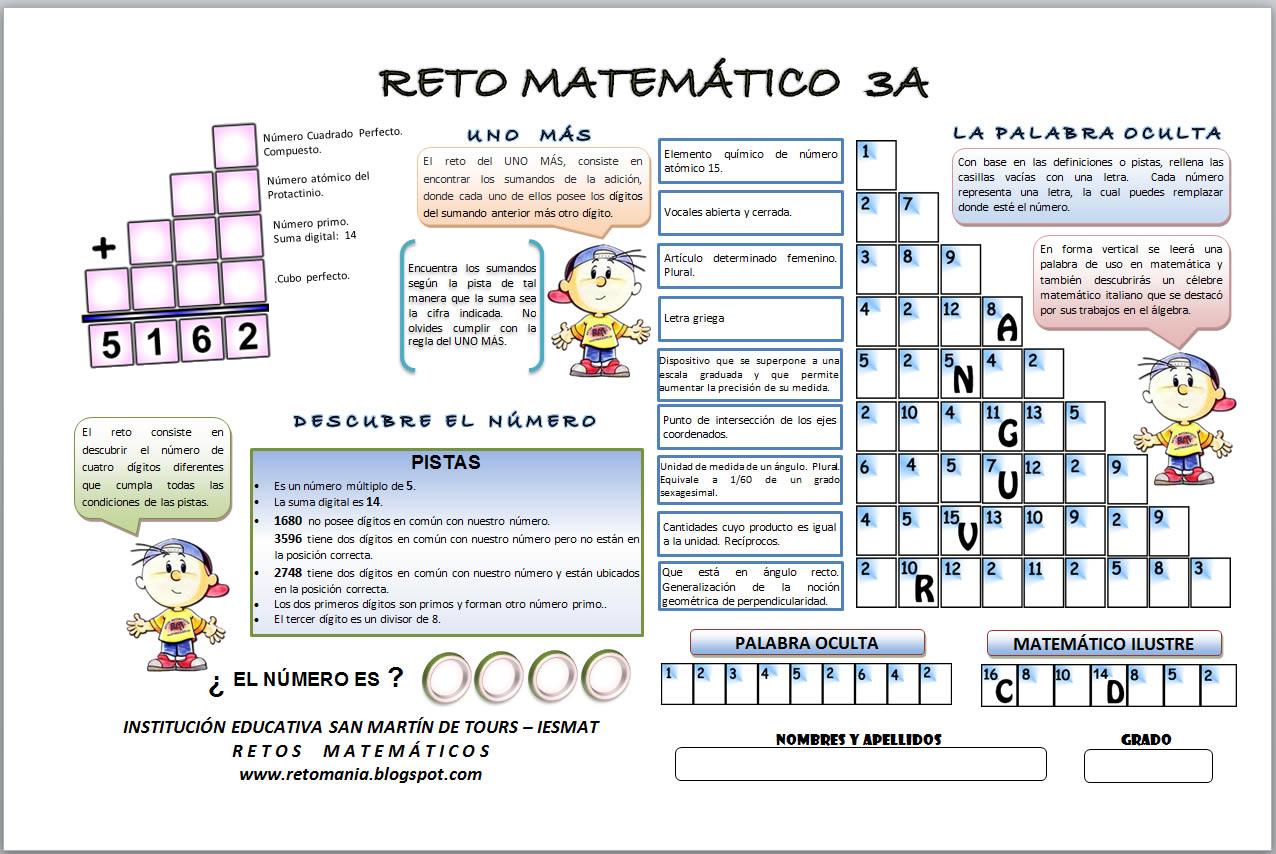 RETO MATEMÁTICO 3A ~ RETOS MATEMÁTICOS
