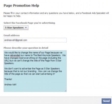 how to change your facebook page name after limit