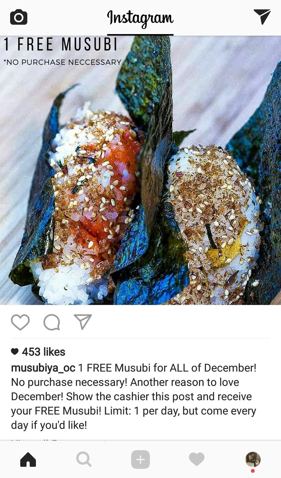 Redeem Your Free Onigiri Everyday All December from Musubiya Balls and Burgers in Santa Ana