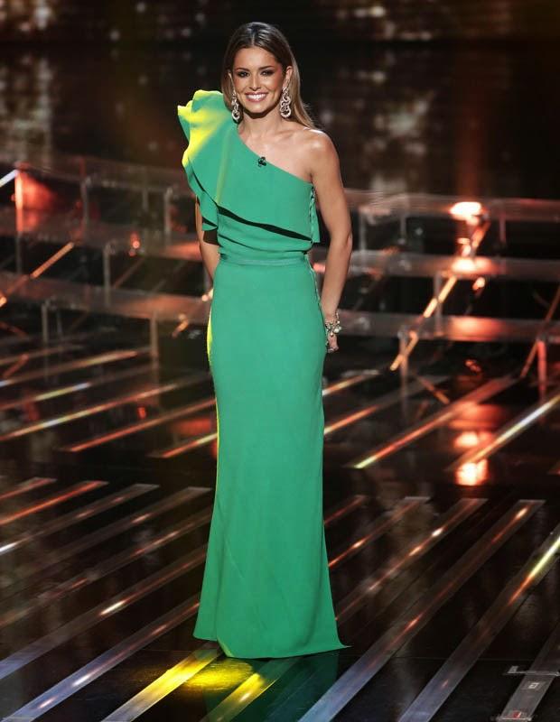 Cheryl Fernandez-Versini green Lanvin dress from X Factor 2014 live shows week 2