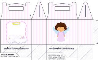 Brunette Angel Girl, Free Printable Lunch Box,