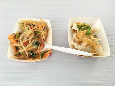 Sweet potato noodles and spicy pork dumplings from Xinji Noodle Bar