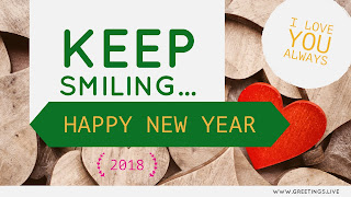 I LOVE YOU ALWAYS in a circle green text keep smiling Happy New Love Year 2018 greeting