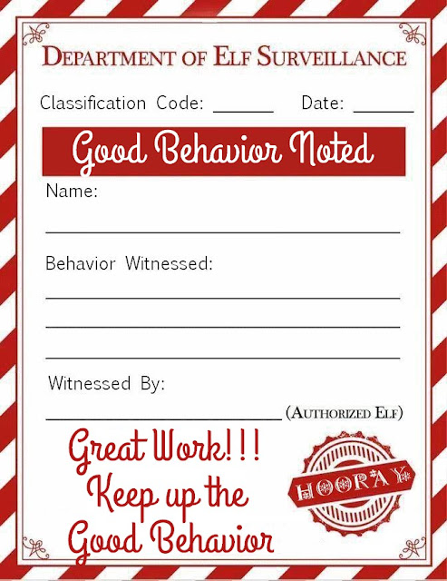 Elf on a Shelf: Good Behavior Note Printable