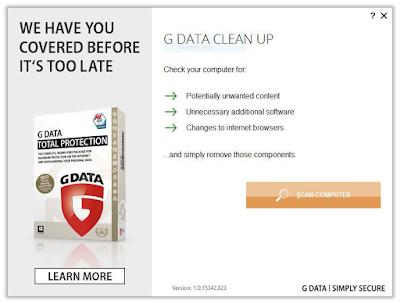 Gambar 2. G Data Clean Up untuk membersihkan komputer anda dari Adware