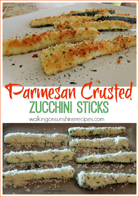 Parmesan Crusted Zucchini Sticks from Walking on Sunshine Recipes are a great way to enjoy zucchini!