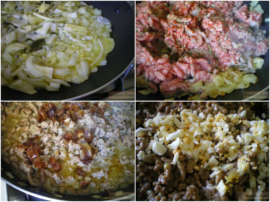 Sorpresas de patatas sobre pisto caramelizado (Relleno de carne)