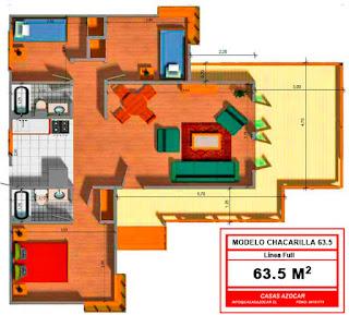 planos de casas prefabricadas azocar 63 metros cuadrados