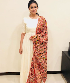 Keerthy Suresh in White Dress with Cute Smile