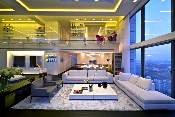 cool modern luxury penthouse living room | One Of The Best Penthouses For Sale Ever! | Architectural ...
