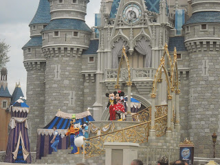 Mickey, Minnie, and Donald at Cinderella's Castle in Magi Kingdom at Disney World