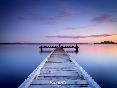 New Zealand, NZ, Lake Rotorua, Jetty, Sunrise, Rotorua