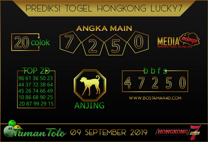 Prediksi Togel HONGKONG LUCKY 7 TAMAN TOTO 09 SEPTEMBER 2019
