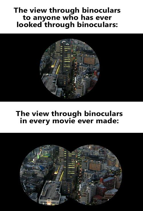 the view through binoculars