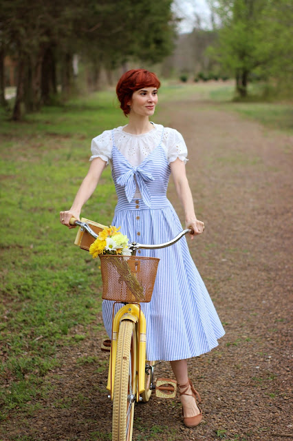 SHEIN Bow Tie Button Through Peekaboo Striped Cami Dress Blue Stripe Sundress