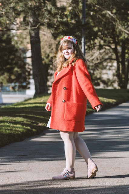 Topshop, red coat, bouclé
