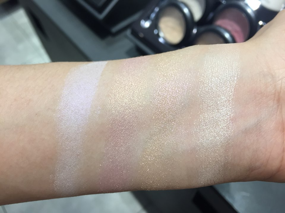 MAC Extra Dimension Skinfinish: from left to right Soft Frost, Beaming Blush, Show Gold, Double Gleam