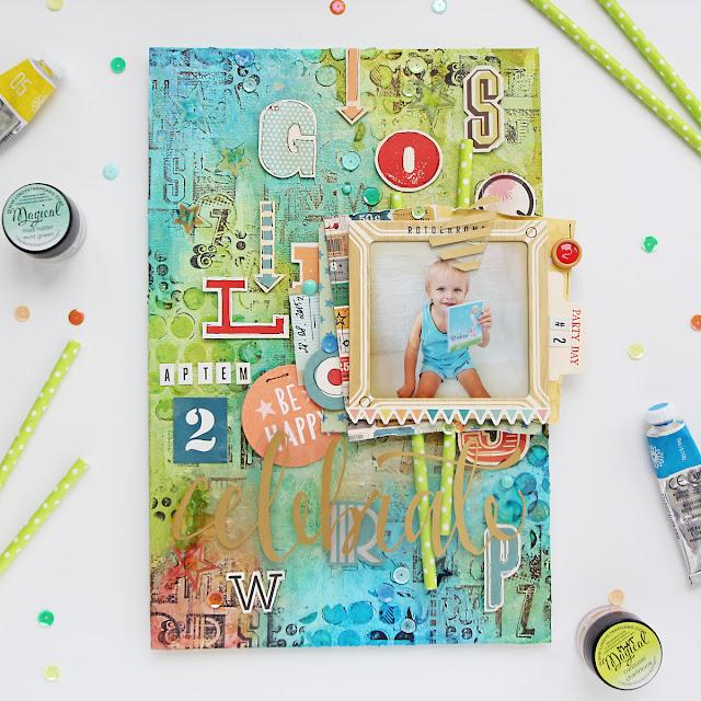 MixedMedia canvas Birthday Boy #2 @kattzen cat-in-box.blogspot.ru