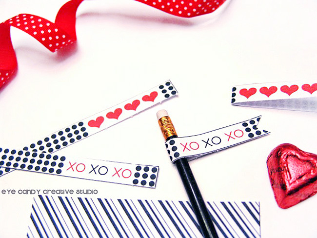 black & white valentine printables, XO, pencil flags, drink flags, heart