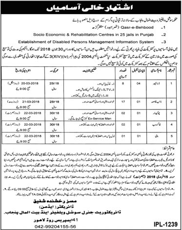 Jobs Social Welfare and Bait Ul Maal Department Punjab Lahore February 2018