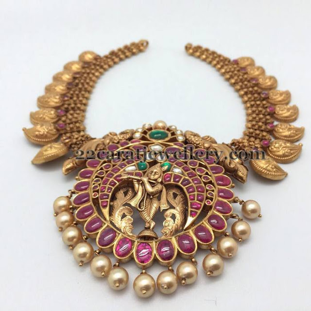 Mango Necklace with Krishna Locket