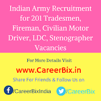 Indian Army Recruitment for 201 Tradesmen, Fireman, Civilian Motor Driver, LDC, Stenographer Vacancies