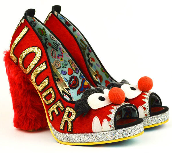 Irregular Choice red furry Animal shoes on white background