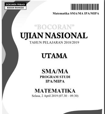 Bocoran Soal UN Matematika SMA IPA 2019