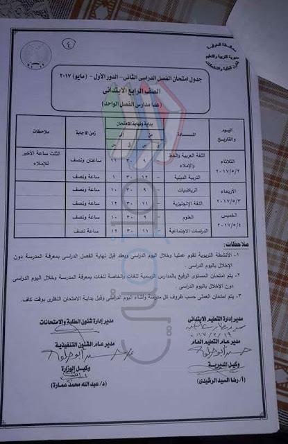 جدول امتحانات الصف الرابع الابتدائي 2017 الترم الثاني محافظة المنوفية