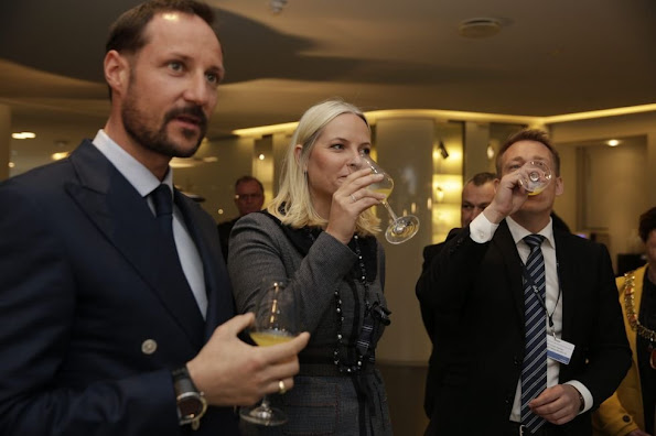 "rown Prince Haakon and Crown Princess Mette-Marit of Norway attended the conference ""Marine Proteins and Peptides Symposium 2016"" in Alesund"