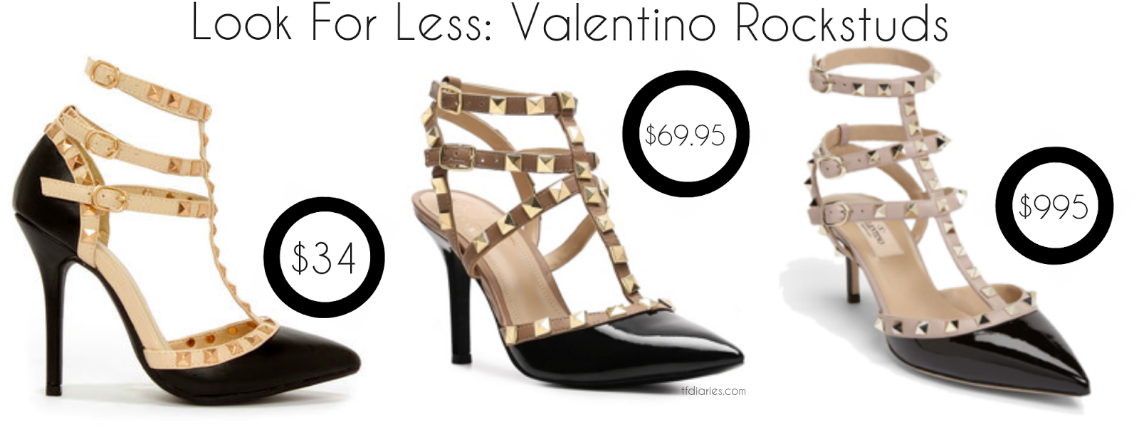 rockstud inspired heels, rockstuds under $50, designer look for less, designer inspired heels under $50